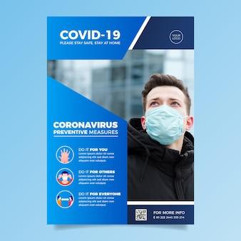 Informacyjny szablon ulotki koronawirusa ze zdjęciem