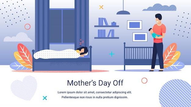 Informacyjny transparent napis dzień matki wolny.