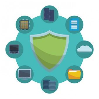 Informatyczny symbol bezpieczeństwa i przedmioty