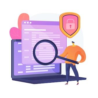 Informatyka kryminalistyczna. cyfrowa analiza dowodów, dochodzenie w sprawie cyberprzestępczości, odzyskiwanie danych. ekspert ds. cyberbezpieczeństwa identyfikujący nieuczciwe działania. ilustracja wektorowa na białym tle koncepcja metafora