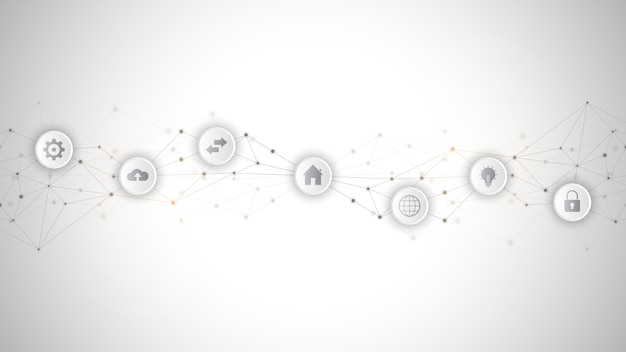 Informatyka z elementami infografiki i płaskie ikony. streszczenie tło techniczne. technologia cyfrowa, połączenie sieciowe i koncepcja komunikacji.