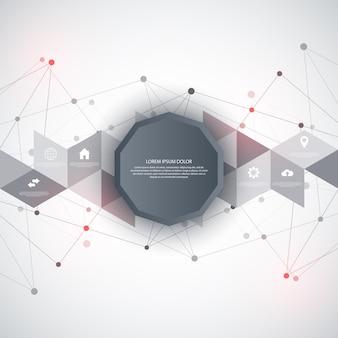 Informatyka z elementami infografiki i płaskie ikony. streszczenie tło z łączącymi kropkami i liniami. globalne połączenie sieciowe, technologia cyfrowa i koncepcja komunikacji.