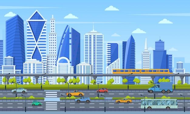 Infrastruktura miejska. nowoczesna architektura miasta, panoramiczny widok miasta miejskiego, pociąg metra, ilustracja widok ulicy ruchu drogowego. panoramiczna metropolia uliczna, pejzaż nieruchomości
