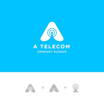 Inicjał litera z logo anteny sygnałowej wieży i falą radiową
