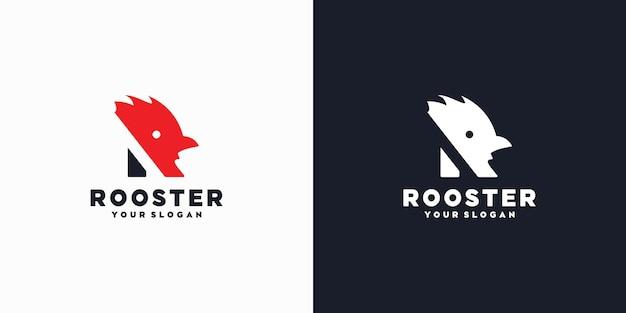 Inicjał logo r, inicjał z głową koguta, logo referencyjne