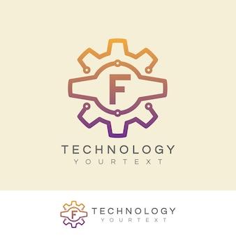 Inicjał technologiczny litera f projektowanie logo