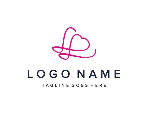 Inicjały litera l z konturem serca prosty elegancki kreatywny geometryczny nowoczesny projekt logo