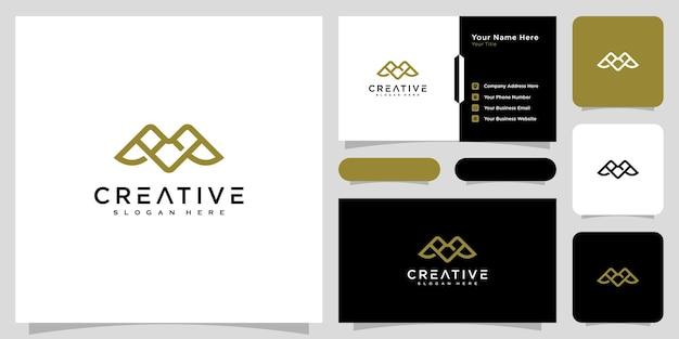 Inicjały litera m logo wektor styl linii projektu