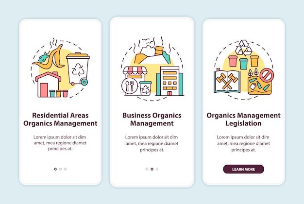 Inicjatywy dotyczące przekierowania odpadów organicznych, wprowadzające ekrany aplikacji mobilnej z koncepcjami. ustawodawstwo, przewodnik biznesowy 3-etapowy szablon interfejsu użytkownika z kolorowymi ilustracjami rgb