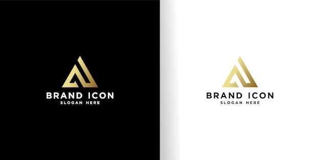 Initial as projekt logo piękny złoty szablon
