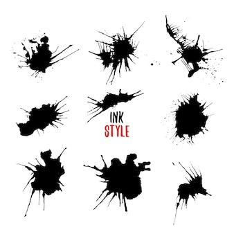Ink rozpryskuje czarny zestaw.