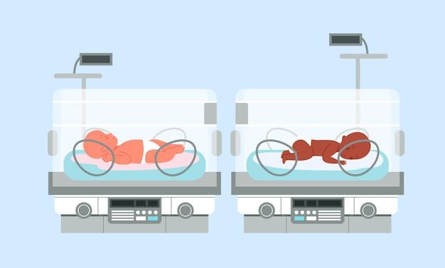 Inkubator dla wcześniaków z niemowlętami, ilustracja wektorowa intensywnej terapii noworodków. kreskówka medyczny neonatolog sprzęt do leczenia pielęgnacyjnego wcześniaków, tło medycyny neonatologicznej