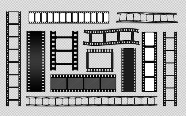 Inna kolekcja taśm filmowych. stare paski kina retro. ramka na zdjęcia. szablony taśmy kinowej. negatyw i pasek, przezroczy medialne. wektor rolki filmu, film 35 mm, zestaw ramek do slajdów