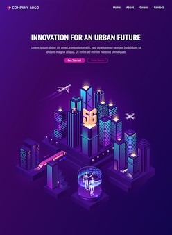 Innowacja dla izometrycznej strony docelowej przyszłości w mieście