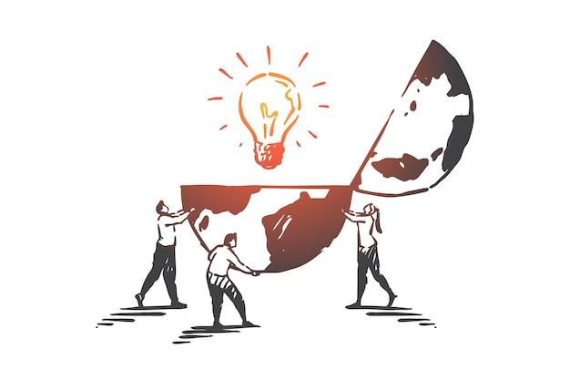 Innowacja, kreatywność, ilustracja szkic koncepcji pracy zespołowej