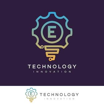 Innowacja technologiczna początkowa litera e projekt logo