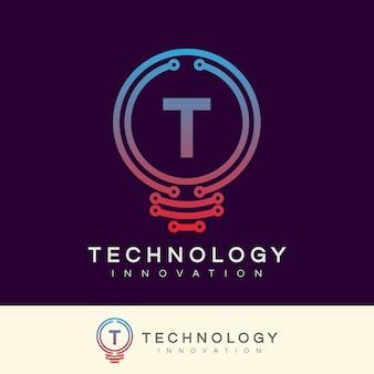 Innowacja technologiczna początkowa litera t projekt logo