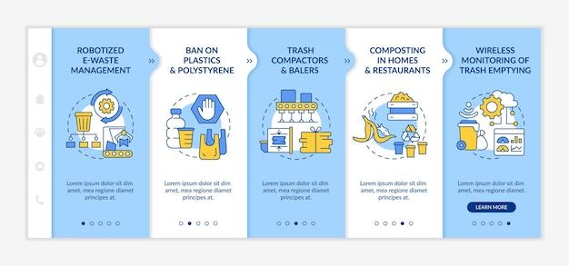 Innowacje w zakresie recyklingu śmieci onboarding wektor szablon. responsywna strona mobilna z ikonami. przewodnik po stronie internetowej 5 ekranów krokowych. koncepcja kolorów gospodarki odpadami z liniowymi ilustracjami