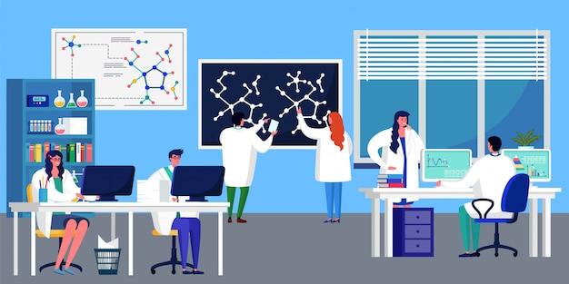 Innowacyjne badania laboratoryjne nowa ilustracja receptury preparatu medycznego. mężczyzna i kobieta naukowiec badają strukturę wirusa