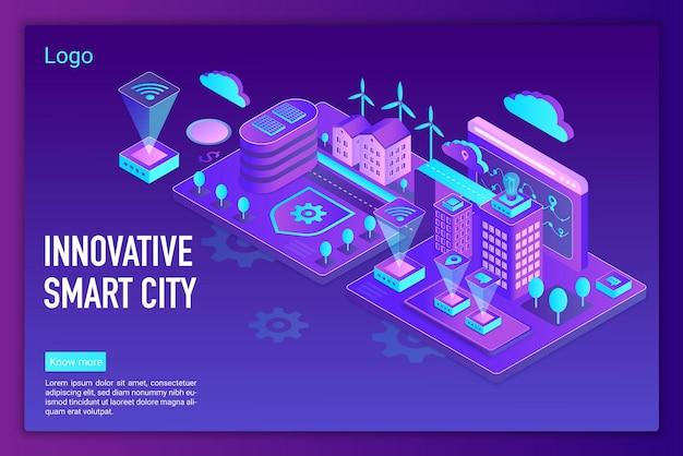 Innowacyjne inteligentne miasto, globalny szablon strony docelowej połączenia bezprzewodowego