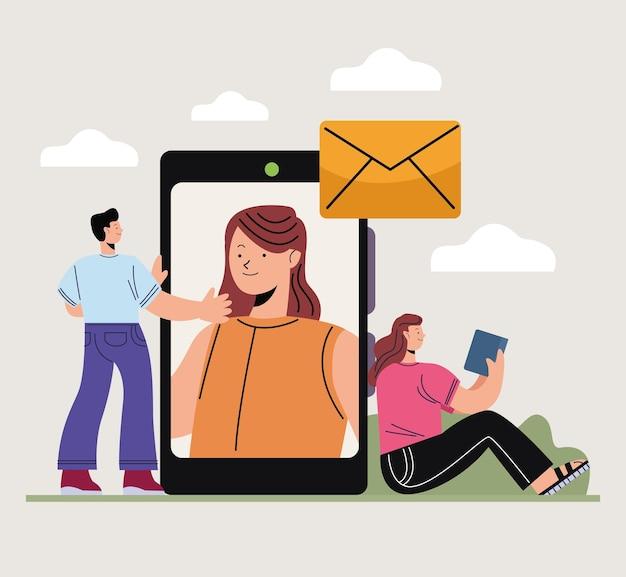 Innowacyjne osoby i smartfon