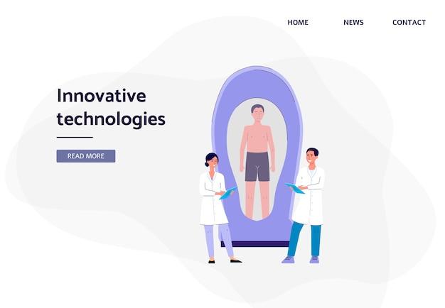 Innowacyjne technologie - ludzie z kreskówek w fartuchach laboratoryjnych przyglądający się pacjentowi w komorze kriogenicznej lub futurystycznym skanerze.