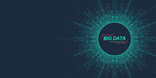 Innowacyjne technologie przetwarzania big data, analizy i strukturyzacji informacji. wizualizacja dużych zbiorów danych. algorytmy uczenia maszynowego big data. przechwytywanie danych. ilustracja wektorowa futurystyczny.