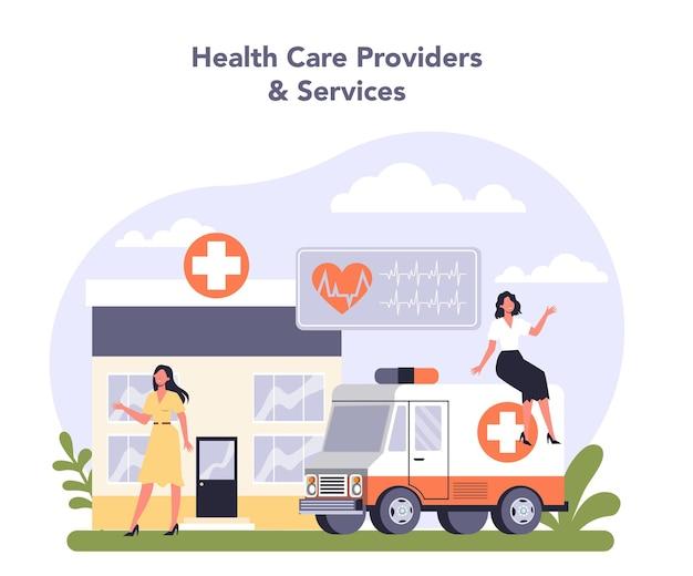 Innowacyjny sektor branży ochrony zdrowia w gospodarce. płaska ilustracja wektorowa
