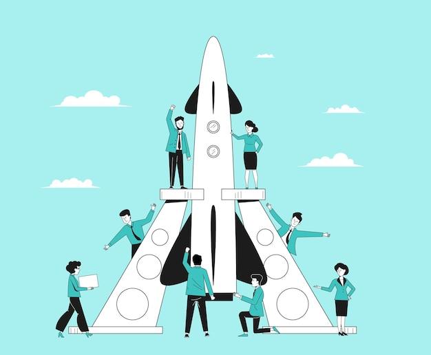 Innowacyjny start pracy zespołowej. pomysły firmy, rozpoczęcie projektu korporacyjnego. biznesmen rozpoczyna pracę, zespół wystrzeliwuje rakietę najnowszą koncepcję wektora