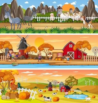 Inny krajobraz przyrody w scenie dziennej z postacią z kreskówek