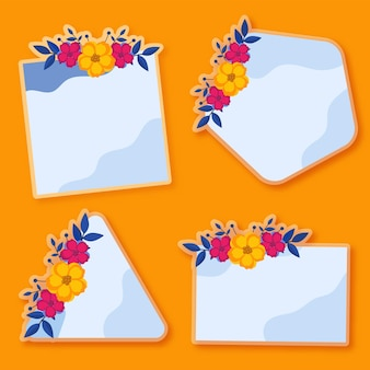 Inny kształt karty z pozdrowieniami ozdobione kwiatami na pomarańczowym tle.