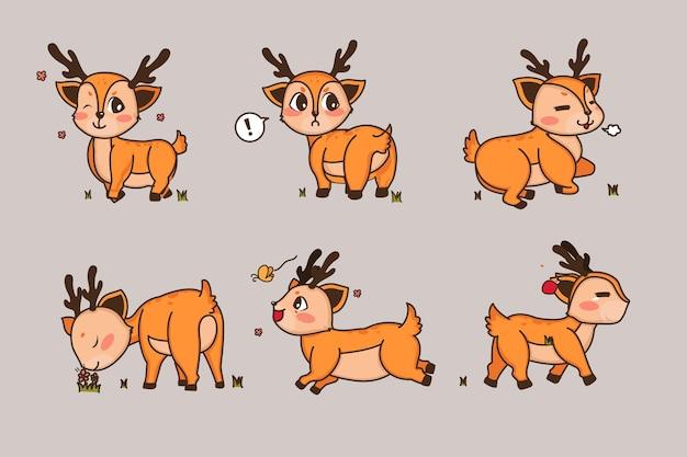 Inny styl jelenia na przezroczystym. pojedyncze obiekty, słodkie ilustracje.