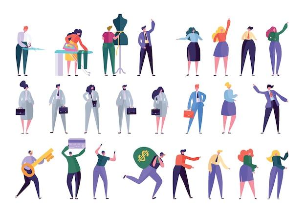 Inny styl projektowania zestawu znaków. ludzie w różnych stylach życia biznesmenka, menedżer, projektant mody, krawcowa, rabuś. ludzie w pracy ubrania płaskie kreskówka wektor ilustracja