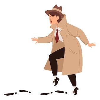 Inspektor pracujący pod przykrywką w płaszczu i kapeluszu, podejrzana o odnalezienie odosobnionej kobiecej postaci. prywatny detektyw lub agent w niebezpiecznej pracy. vintage i staromodny charakter, wektor w stylu płaski