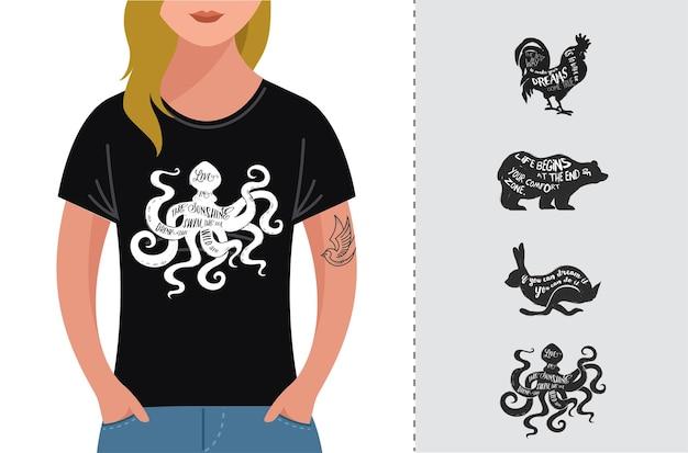 Inspiracja cytuje projekt hipster, t-shirt
