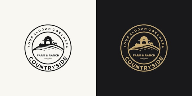 Inspiracja do logo farmy i rancza w stylu vintage