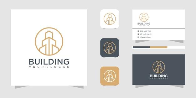 Inspiracja do projektowania logo budowy budynku. projekt logo i wizytówki.