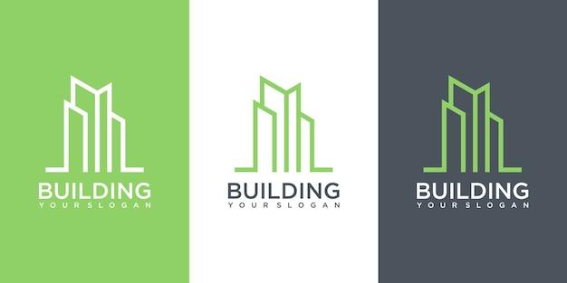 Inspiracja do projektowania logo budowy budynku. projekt logo