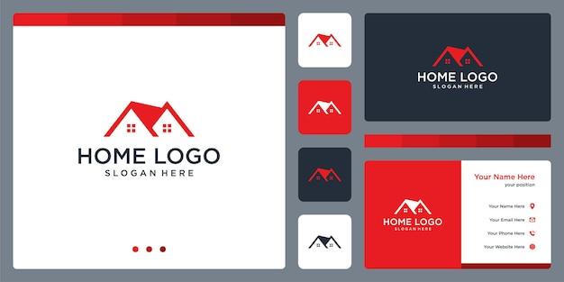 Inspiracja do projektowania logo domu. projekt szablonu wizytówki.