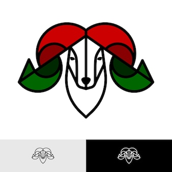 Inspiracja do projektowania logo kolorowej głowy barana