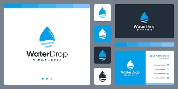 Inspiracja do projektowania logo kropli wody. projekt szablonu wizytówki.