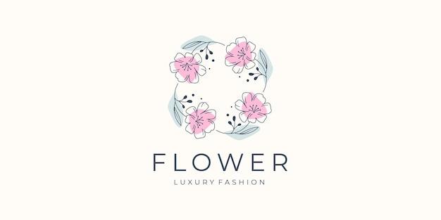 Inspiracja do projektowania logo kwiatów dla twojej firmy luksusu, butiku, salonu i spa, kobiecego designu.
