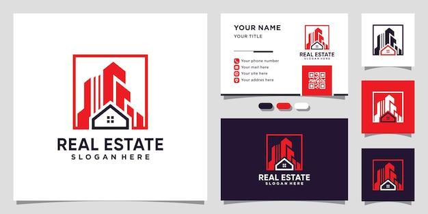 Inspiracja do projektowania logo nieruchomości z kreatywną koncepcją i projektowaniem wizytówek premium wektor