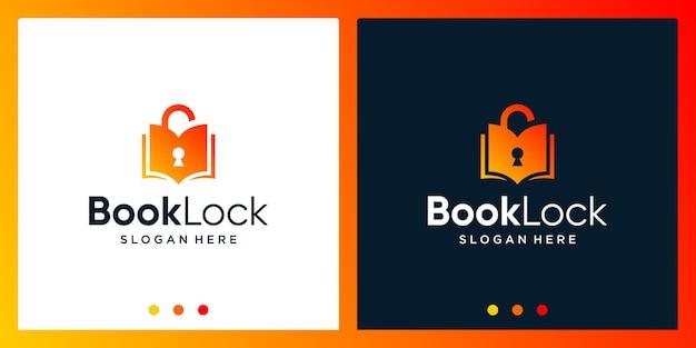 Inspiracja do projektowania logo otwartej książki z logo projektu kłódki. wektor premium