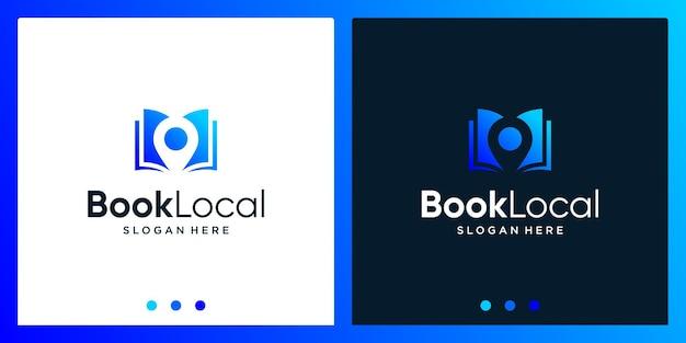 Inspiracja do projektowania logo otwartej książki z logo projektu punktu lokalizacji. wektor premium