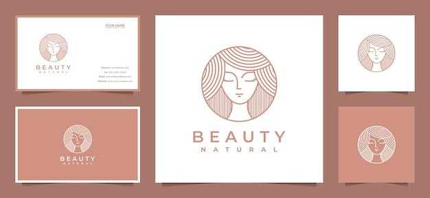 Inspiracja do projektowania logo piękna kobiet z wizytówką do pielęgnacji skóry, salonów i spa, w stylu grafiki liniowej