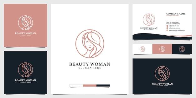 Inspiracja do projektowania logo piękności kobiet dla salonów pielęgnacji skóry i spa z wizytówką