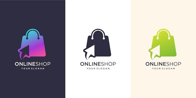 Inspiracja do projektowania logo sklepu internetowego. nowoczesny, torba z logo, online, szablon ilustracji do kliknięcia.