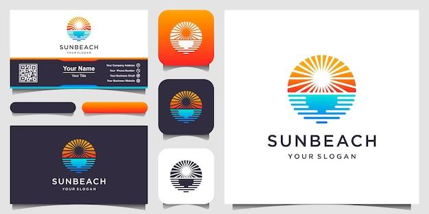 Inspiracja Do Projektowania Logo Sun Beach. Premium Wektorów