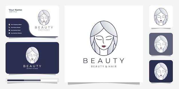 Inspiracja do projektowania logo uroda włosów kobiet z wizytówką. piękno, pielęgnacja skóry, salony i spa, ze stylem grafiki liniowej.
